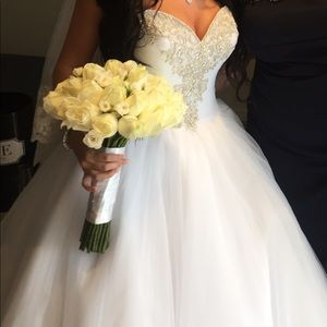 Beautiful white princess wedding gown